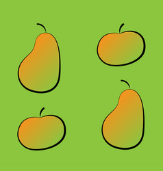 set of colorful pear and apple icons on a green vector image