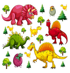 Set of isolated various dinosaurs cartoon vector