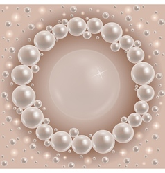Shiny pearls round frame vector image