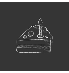Slice of cake with candle Drawn in chalk icon vector image