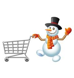 Snowman and shoppingcart vector image