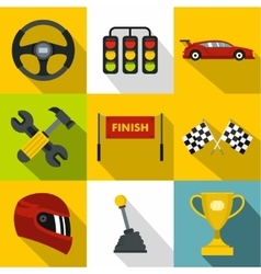 Speed cars icons set flat style vector