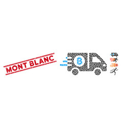 Textured mont blanc line seal with mosaic fast vector