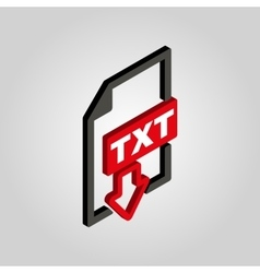 The TXT icon3D isometric Text file format symbol vector image