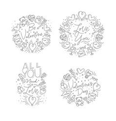 valentines day flat monograms vector image