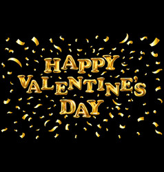 Valentines day golden balloon banner with gold vector