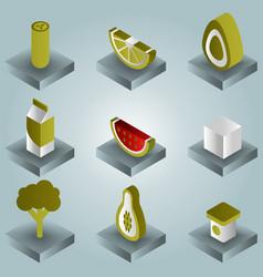 Vegan life color gradient isometric icons set vector