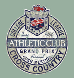 Vintage college league track field cross country vector