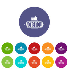 Vote now icons set color vector
