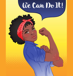 we can do it design inspired classic feminist vector image