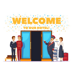 Welcome to hotel cartoon poster vector