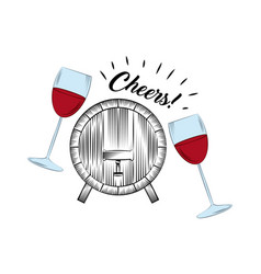 Wineglasses and barrel icon vector