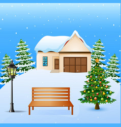 Winter background with hous vector
