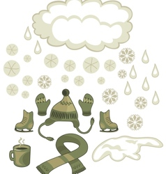 winter weather set vector image
