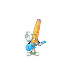 With guitar pencil stationery for in elementary vector
