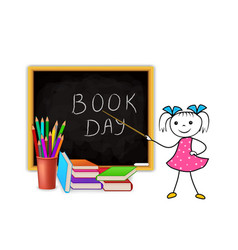 World book day concept on white background vector