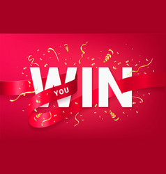 you win celebrating banner template vector image