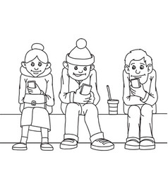 Young people and middle-aged woman isolated sit vector
