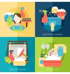 Cleaning design concept with office apartment vector image vector image