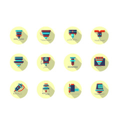 laser machines round flat color icons vector image vector image
