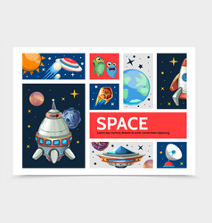 cartoon space infographic template vector image