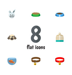 flat icon animal set of puppy bunny fishbowl and vector image