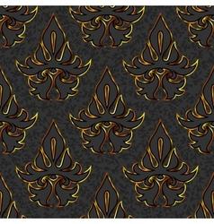 seamless floral damask black gold background vector image