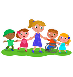 woman with group of children vector image