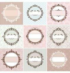 Set of vintage floral frames vector