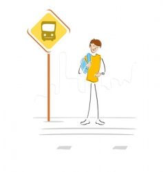 student waiting at bus stop vector image vector image