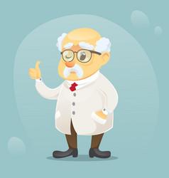 cartoon old funny scientist vector image