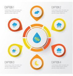 climate flat icons set collection of shower snow vector image