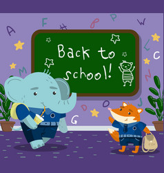 cute funny animal students in the calssroom back vector image vector image