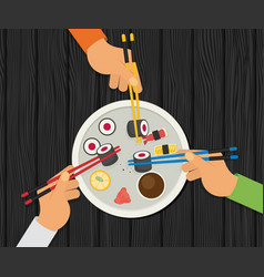eating sushi flat design vector image vector image