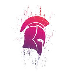 grunge spartan helmet in profile on white vector image vector image