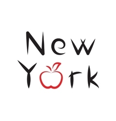 New York lettering with apple sign vector image vector image