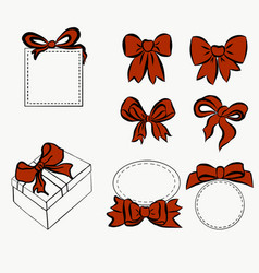red ribbon set bow for decorating various item vector image vector image
