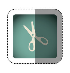 sticker color square with scissors vector image