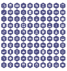 100 paying money icons hexagon purple vector