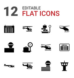 12 departure icons vector