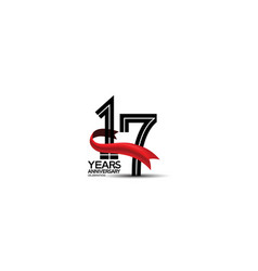 17 years anniversary logotype flat black color vector