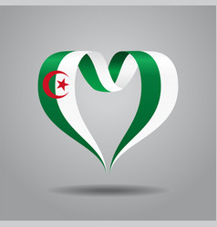 Algerian flag heart-shaped ribbon vector
