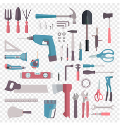 big set cartoon building tools repair home vector image