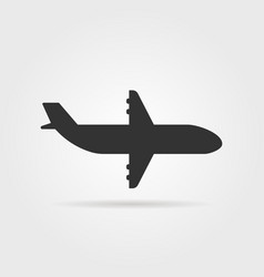 Black airplane icon side view with shadow vector