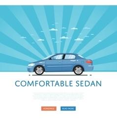 Blue comfortable sedan vector