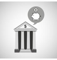 Building bank economy money piggy vector