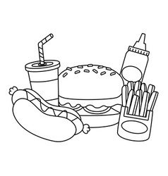 burger hotdog french fries fast food vector image