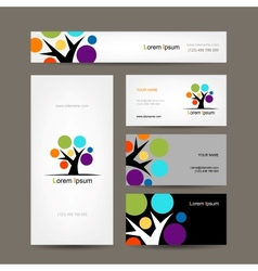 Business cards collection with abstract tree for vector image