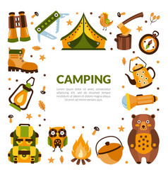 camping banner template with hiking equipment vector image