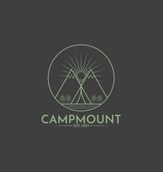 camping mountain vintage logo template vector image